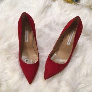 Diane von Furstenberg Red Suede Heels | Size 8.5